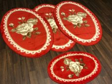 ROMANY WASHABLES TRAVELLER MATS SETS NON SLIP LARGE SIZE BEST QUALITY OVAL RED